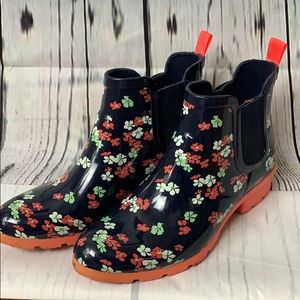 Cougar Navy Floral Rubber Boots 8